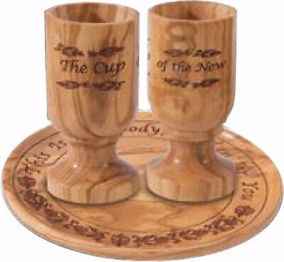 Communion-Set-Olivewood Plate & 2 Cups In Box
