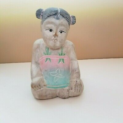 """Vintage 8"""" Chinese Girl Good Luck Figurine/ Carved Wood Polychrome"""