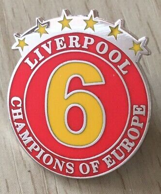 Liverpool 6 Times Champions Of Europe Football Hard Enamel Souvenir Pin Badge