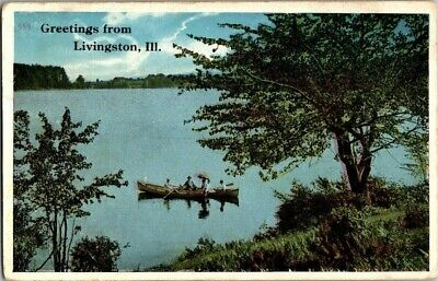 1915. Greetings From Livingston, Ill. Postcard Ck12