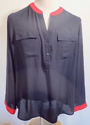 The Limited Blouse  Size XL Black with Red Trim  Sheer Polyester     JC1114