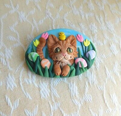 OOAK Orange Tabby Cat Easter Brooch Pin Clay Sculpted Jewelry by Raquel theWRC