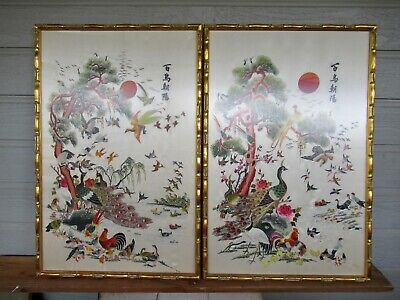 Pair of 100 Birds Chinese Republic Period 1920 1930 Silk Embroidered Art Framed