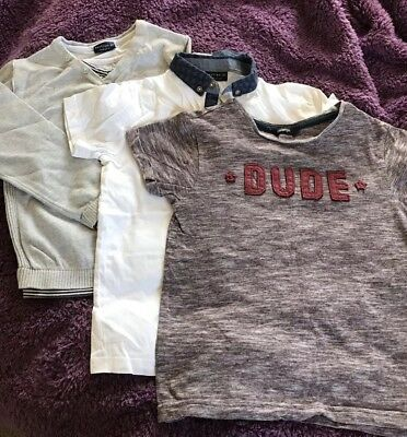 Bundle Of Boys Clothes Aged 6, 1 t-shirt maroon 1 white polo And 1 Grey Jumper