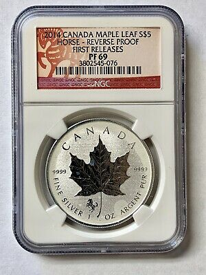 NGC 2014 Canada Maple Leaf $5 Horse Reverse. Proof PF69  1 oz .9999 Silver