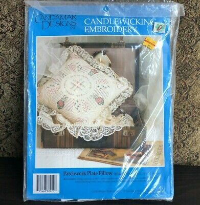 Candamar Designs Inc. Candlewicking Embroidery Patchwork Plate Pillow 80220