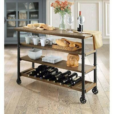 WHALEN SANTA FE Industrial Style Kitchen Cart with Large ...