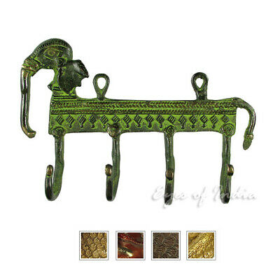 "6"" Brass Elephant Decorative Wall Hook Hanger Coat Rack Bronze Antique Boho Bohe"