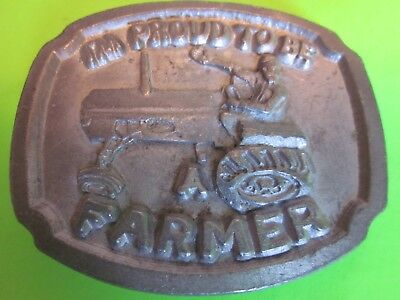 """Vintage """"I'm Proud to be a Farmer"""" Pewter Belt Buckle Very Good+"""