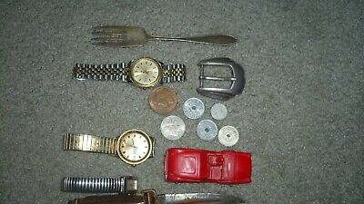 vtg JUNK DRAWER LOT WATCHE, SILVER,925  JEWELRY, Knives coins tokens