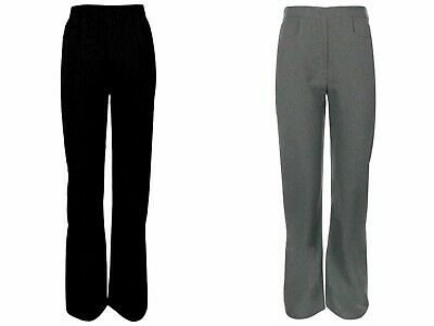 Girls School Trousers Grey Black No Zip & Button Front Pockets Half Elasticated