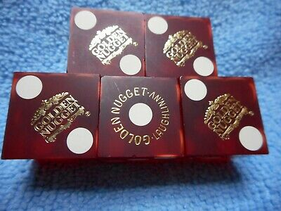 Stick of 5 GOLDEN NUGGET Laughlin, NV Casino Dice - Matte Red, Matching #s