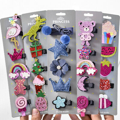 5PCS/Set Girls Kids Children Cute Bowknot Head Hair Pin Clip clasp Accessory