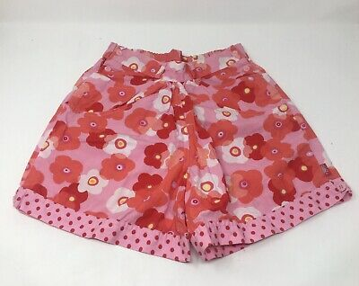 Oilily Pink Floral 100% Cotton Girls Summer Shorts Designer Clothes (128) 7-8yrs