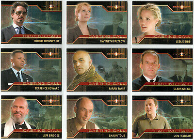 Iron Man Original 2008 Movie Casting Call Cc1-Cc9 Insert Trading Card Set (9)
