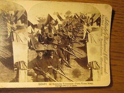 82 Stereoview photo Card 1st Kentucky Volunteers Army Porto Puerto Rico Soldiers