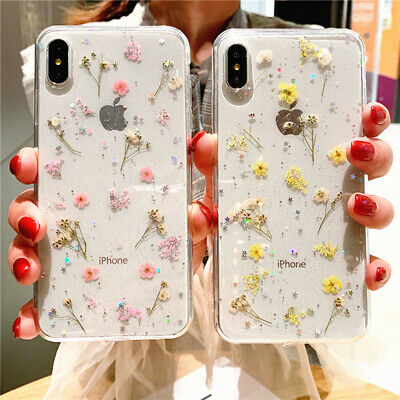 For iPhone X XS MAX XR 8 7 6 Luxury Clear Real Dried Pressed Flowers Phone Case