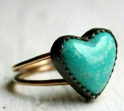Fashion Vintage Women Heart Turquoise Gemstone Wedding Silver Jewelry Size 6-10