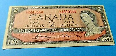 RARE! 1954 Bank of Canada RADAR NOTE -  L/G 4440444 - VF30