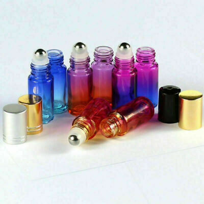 1~100Pc 5ml THICK Gradient Glass Roll on Bottles Metal Roller Ball Essential Oil