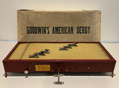 Antique Goodwin's American Derby Horse Race Metal Clock Work Track Game Complete