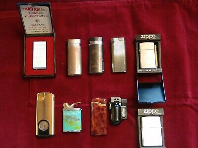 Ten (10) Vintage Lighters, Eight (8) Butane & 2 Zippo, 1 Colibri, I SAVINELLI