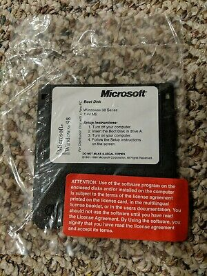 WINDOWS 98 SECOND Edition Boot Disk (floppy) and CD With