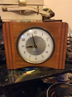Westclox Art Deco Wooden-Geometric Lines-Mantle Clock-Wind Up-Made In Scotland