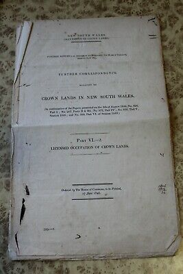 1846 New South Wales SQUATTER Occupation Of Crown Land Australia Colony Document