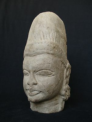 Antique Cambodia Khmer Sand Stone, Tample Head Statue  3.2kg weight