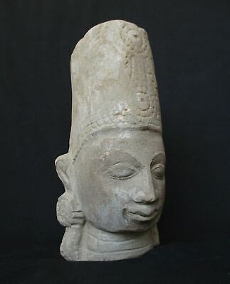 Antique Cambodia Khmer Sand Stone, Tample Head Statue  3.17kg weight