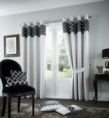 Luxury Faux Silk Curtain Fully lined Shiny Eyelet Ring Top Pair of Curtains