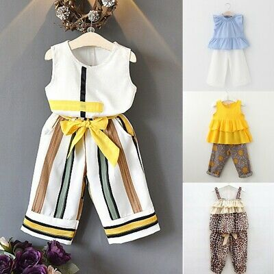 Kids Girls Summer Outfits Clothes Casual Trouser Set Top+Pant 2PCS Age 1 3 5 7