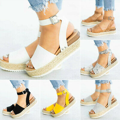 Women Ankle Strap Flatform Sandals Espadrilles Ladies Platform Wedges Shoes UK