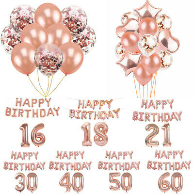 Rose Gold Foil Confetti Latex Balloons Happy Birthday Bunting Banner Party Decor