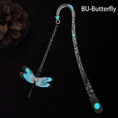 1XLuminous Night Dragonfly Bookmark Label Read Maker Feather Book Stationery_WK