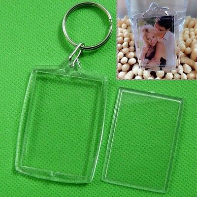 5x Clear Acrylic Blank Photo Picture Frame Key Ring Keychain Keyring Gift lov_WK