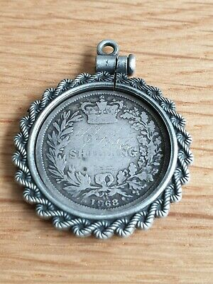 1868 Solid Silver Victorian Shilling Coin in a pocket watch fob charm holder