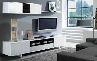 Mueble salon Belus blanco brillo y negro brillo