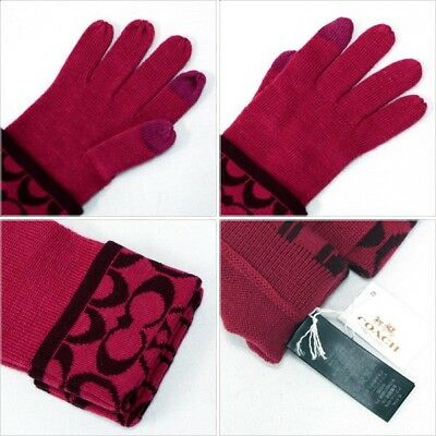 Coach Signature C Knit Logo Touch Gloves F85216 Raspberry Sherry Red Pink NWT