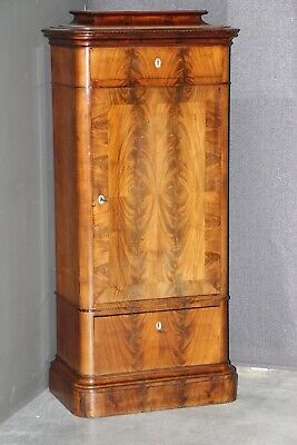 Tall antique Empire armoire pier cabinet original mahogany carved moldings 1830