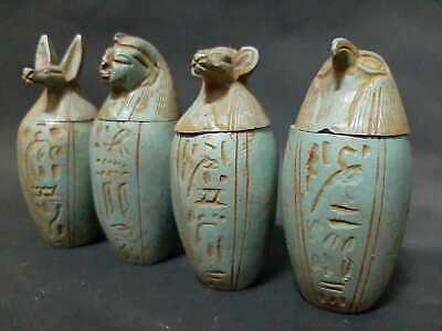 Rara ANCIENT EGYPTIAN ANTIQUES Sons Of HORUS 4 Canopic Jars 1301-1489 BC