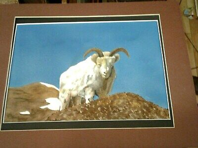 Vintage painting, mountain goat, ram, on mountain, framed, signed