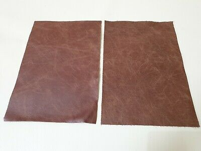 "Rustic Light Tan 9""x6"" Top Quality 100% leather 2 offcuts  1.1mm Craft patch"