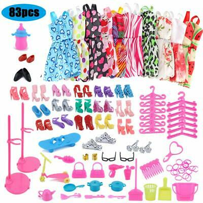 CHAFIN 83pcs - 10 Pack Clothes Party Gown Outfits for Barbie Dolls+ 73pcs Dolls