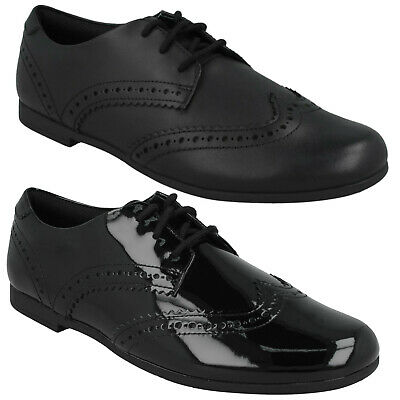 Girls Youth Clarks Scala Lace Brogue Lace Up College Formal School Shoes Size
