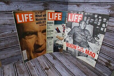 Lot of 3 Vintage Richard Nixon Related LIFE Magazines -The Big Win, In Mao 1972