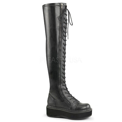 Demonia EMILY-375 Women's Punk Goth Black Platform Thigh-High Lace-Up Vegan Boot
