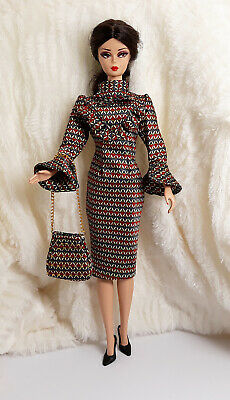 e9a7f07499a6 Ooak Handmade Red Blue Silk Outfit Dress Bag For Silkstone Model Muse Doll