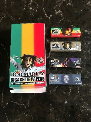 Bob Marley 1 1/4 Size Pure Hemp Cigarette Rolling Papers - 4 Packs